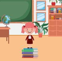 liten skolflicka med högböcker i klassrummet vektor