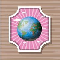Planet Erde Etikett Design Vektor-Illustration