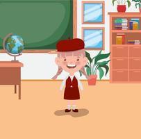 kleines Studentenmädchen im Klassenzimmer vektor
