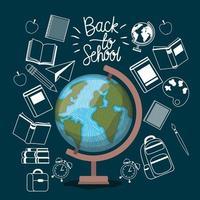 världskarta och förnödenheter tillbaka till skolan vektor