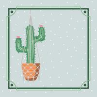 Rahmen mit Kaktus Zimmerpflanze in Makramee hängen vektor