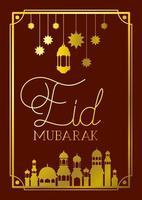 Eid Mubaray Rahmen mit Moschee und Lampen, Sterne hängen vektor