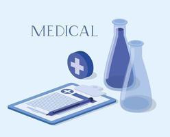 Design der medizinischen isometrischen Symbole vektor