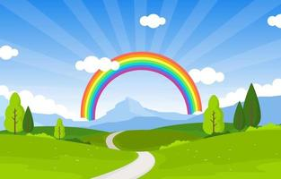 kurvenreiche Straße Regenbogen Naturlandschaft Landschaft Illustration vektor