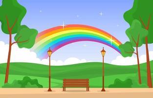 vacker regnbåge i park sommar natur landskap illustration vektor
