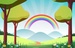 schöner Regenbogen in der sommerlichen Naturlandschaftslandschaftsillustration vektor