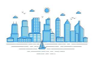 Stadt Stadtbild Landschaft Fluss Illustration vektor