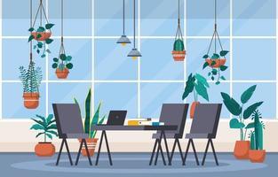 tropische Zimmerpflanze grüne dekorative Pflanze in Büroarbeitsplatzillustration vektor