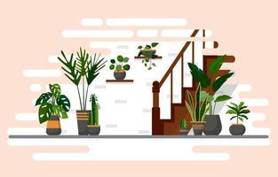tropisk krukväxt grön dekorativ växt inredning hus illustration