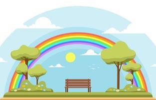 schöne Regenbogen in Park Sommer Naturlandschaft Illustration vektor