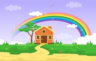 kleines Haus mit Regenbogensommer-Naturlandschaftsillustration vektor