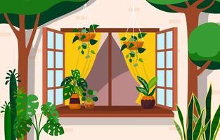tropische Zimmerpflanze grün dekorative Pflanze Fenster Haus Illustration vektor
