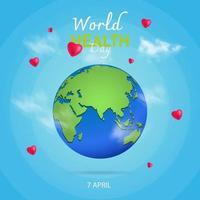 världshälsodag hjärta bakgrund fri vektor