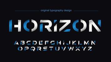 futuristische Sportarten geschnittene blaue und silberne Typografie vektor