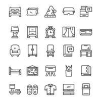 uppsättning sovrum ikoner med linje konst stil vektor