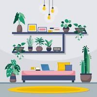 grüne dekorative Pflanze der tropischen Zimmerpflanze in der Wohnzimmerillustration vektor