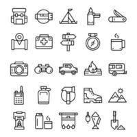 uppsättning vandring camping ikoner med linje konst stil