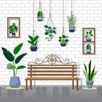 tropisk krukväxt grön dekorativ växt inredning hus illustration vektor