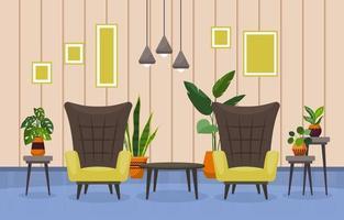 tropisk krukväxtgrön dekorativ växt i vardagsrumsillustration vektor