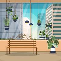 tropisk krukväxt grön dekorativ växtfönsterhusillustration