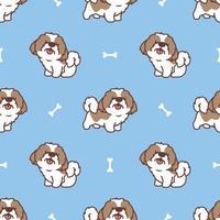niedliche shih tzu Hund Cartoon nahtloses Muster, Vektor-Illustration vektor