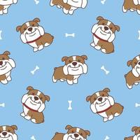 niedliches nahtloses Muster der englischen Bulldoggenkarikatur, Vektorillustration vektor