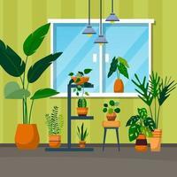tropische Zimmerpflanze grün dekorative Pflanze Fenster Haus Illustration