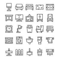 uppsättning hem levande ikoner med konturstil vektor