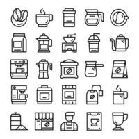 Satz Kaffee-Ikonen mit Strichgrafikstil. vektor
