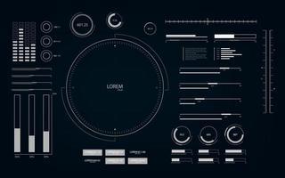 futuristische Benutzeroberfläche mit Hud- und Infografik-Elementen. Hintergrund der virtuellen Technologie mit Schleifenbewegung. vektor