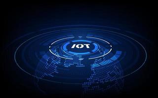 Zielseite iot. Internet der Dinge Geräte und Konnektivitätskonzepte in einem Netzwerk. Spinnennetz von Netzwerkverbindungen vektor