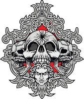 gotisk skylt med skalle, t-shirts i grunge vintage design vektor