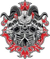 gotisk skylt med horned skalle, t-shirts i grunge vintage design vektor
