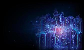 Smart City und drahtloses Kommunikationsnetzwerk, 5g drahtloses Netzwerk und Smart City-Konzept. vektor
