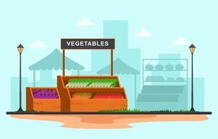 Standstand des gesunden Obstgemüseladens stehen Lebensmittelgeschäft in der Stadtillustration vektor