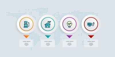 abstrakte horizontale Zeitachse Infografiken 4 Schritte mit Weltkarte für Geschäft und Präsentation vektor