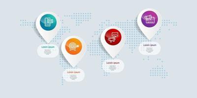 abstrakt horisontell tidslinjeinfografik 4 steg med världskarta för företag och presentation vektor