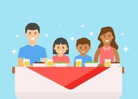 Glad multietnisk familj med middag vektor
