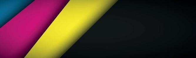 schwarzer moderner Materialkopf mit überlappenden Schichten mit cmyk-Farben. Banner für Ihr Unternehmen. Vektor abstrakte Breitbild