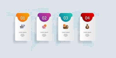 abstrakte horizontale Balken Timeline Infografiken 4 Schritte für Geschäft und Präsentation vektor
