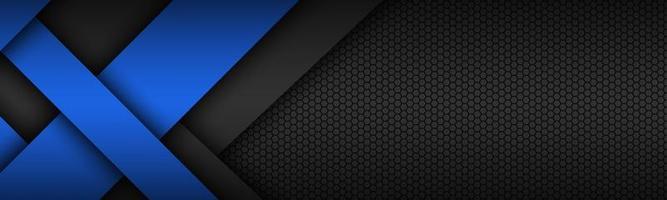 schwarz und blau überlagerte Pfeile moderner Materialdesign-Header. Unternehmensbanner für Ihr Unternehmen. Vektor abstrakter Breitbildhintergrund