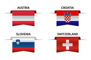 Set aus vier österreichischen, kroatischen, slowenischen und schweizerischen Bändern. Hergestellt in Österreich, Hergestellt in Kroatien, Hergestellt in Slowenien und Hergestellt in Schweizer Aufklebern und Etiketten. Vektor einfache Symbole mit Flaggen