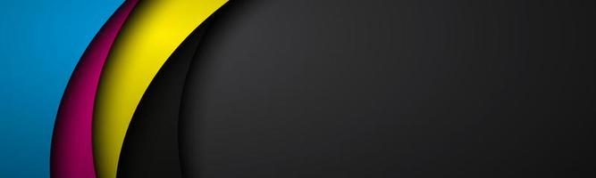 abstrakter Wellenvektorkopf mit ovelayed Papierbögen mit cmyk Farben. modernes Firmenbanner. Vektorillustration vektor