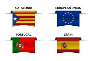 Satz von vier katalanischen, europäischen Union, portugiesischen und spanischen Bändern. Hergestellt in Katalonien, hergestellt in der Europäischen Union, hergestellt in Portugal und hergestellt in spanischen Aufklebern und Etiketten. Vektor einfache Symbole mit Flaggen