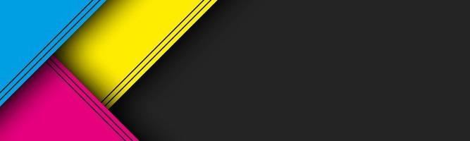 schwarzer moderner Materialkopf mit überlappenden Schichten mit cmyk-Farben. Banner für Ihr Unternehmen. Vektor abstrakter Breitbildhintergrund