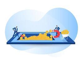 Geschäftsmann zieht Geld unter Verwendung eines großen Magneten auf dem mobilen Vektorillustrator an vektor