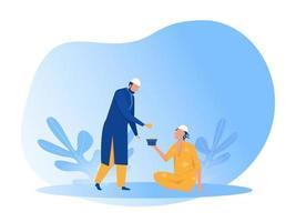 muslimischer Mann spendet zakat an arme arme Leute mit eid mubarak Tagesillustration vektor
