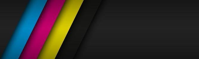 schwarzer moderner Header mit überlappenden Schichten mit cmyk-Farben. Banner für Ihr Unternehmen. Vektor abstrakter Breitbildhintergrund