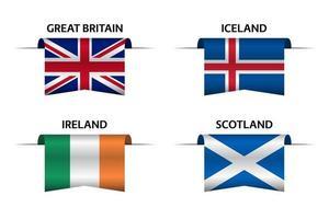 Set aus vier britischen, isländischen, irischen und schottischen Bändern. Hergestellt in Großbritannien, hergestellt in Island, hergestellt in Irland und hergestellt in Schottland Aufkleber und Etiketten. Vektor einfache Symbole mit Flaggen