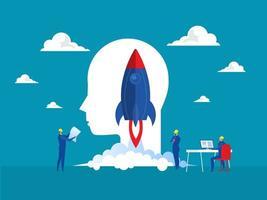 affärsprojekt starta upp människor lanserar rymdskepp raketutvecklingsprodukter marknadsföringsföretag kreativ idé och innovation nytt original symbolvektorkoncept vektor